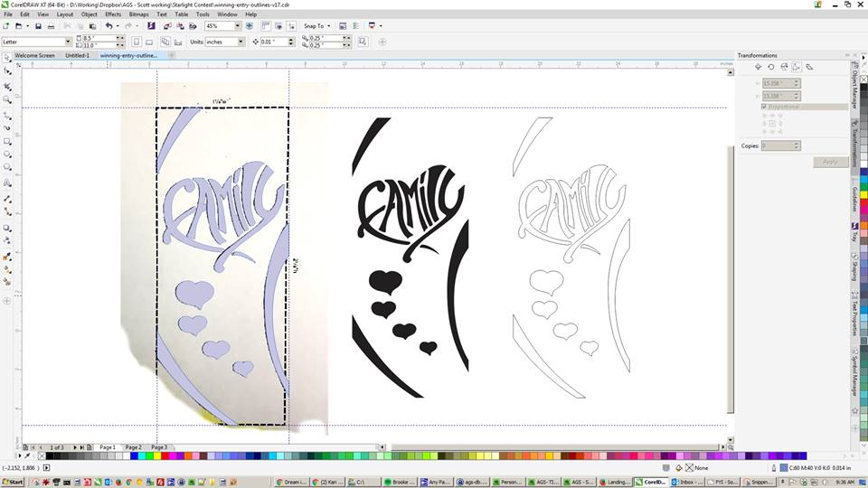 Graphic design team converting bitmap art to outlines.